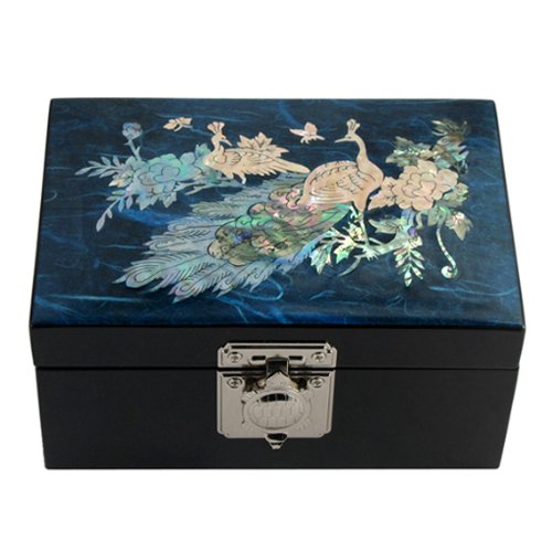 Mother of Pearl Peacock Pair Design Blue Wooden Jewelry Mirror Trinket Keepsake Treasure Lacquer Box Case Chest Organizer