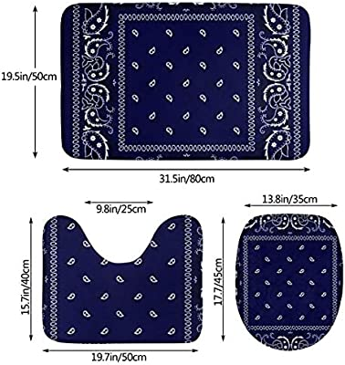 Bandana Navy Blue Bathroom Mat Sets 3 Piece//Set Rugs Memory Foam Mat Set Matches Anti-Skid Toilet Seat Cover Bath Mat Lid Cover