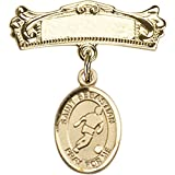 14kt Yellow Gold Baby Badge with St. Sebastian/Soccer Charm and Arched Polished Badge Pin 7/8 X 3/4 inches