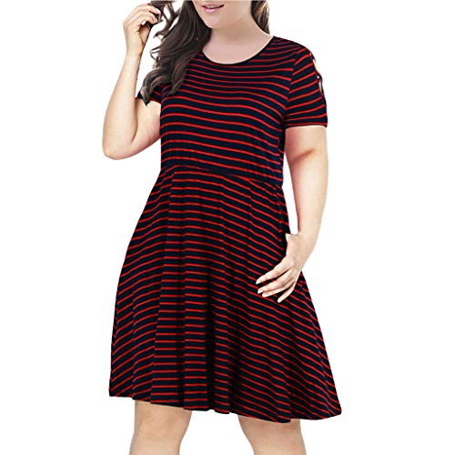 Striped Short-Sleeved T-Shirt Dress Large Size Round Neck Strapless Dress Fashion high Waist Large Swing Casual Dress MEEYA Red