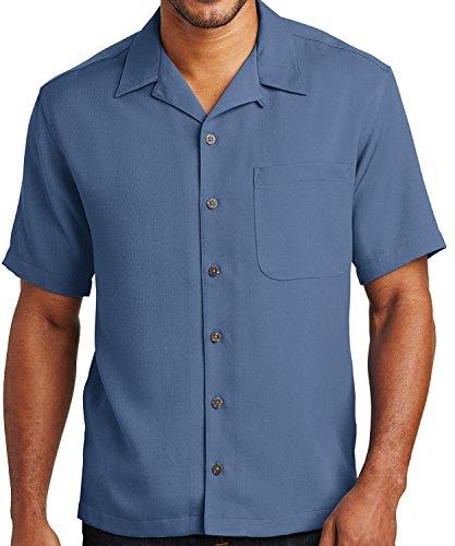A&E Designs Upscale Men's Short Sleeve Easy Care Camp Shirt - Blue, XL