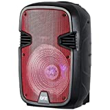 QFX PBX-1205-RD Rechargeable 12 Party Speaker with Stand and Microphone - Red