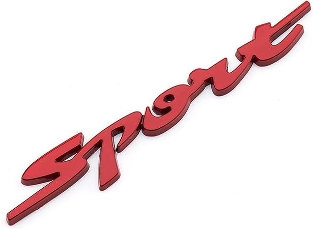 Dsycar 1 Stücke 3d Metall Sport Auto Seitenfender Kofferraum Emblem Abzeichen Aufkleber Für Universal Autos Motorrad Auto Styling Dekorative Zubehör Rot Auto