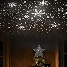 """EAMBRITE 9"""" Hollow Silver Star Christmas Tree Topper with Rotating Magic Cool White Snowflake Projector for Xmas Tree Decoration"""
