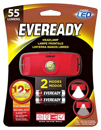 Energizer Eveready Compact Headlamp Flashlight, Ultra Bright 55 Lumens, for Camping, Running, Hiking, Outdoors, Batteries Included