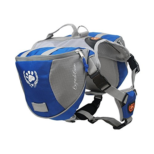 [MY PET for Dog Backpack Bagpacks Pack Back Adjustable Saddle Bag Hiking Training Travel Waterproof Style with Reflective Strip Accessory Blue] (Contour Designs Costumes)