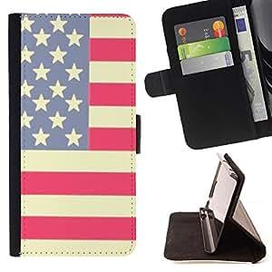 STARS STRIPES RED AMERICAN FLAG WHITE BLUE/ Personalizada del estilo del dise???¡Ào de la PU Caso de encargo del cuero del tir????n del soporte d - Cao - For Sony Xperia M2