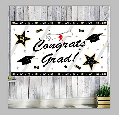 (GOER Graduation Banner,Large 78.7 inch by 45.2 inch - Congrats Grad Graduation Cap Diploma Bunting,Graduation Gift Party Supplies for 2018 Graduation Party)