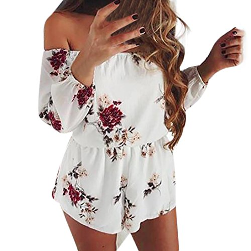 SanCanSn Women Rompers, Off Shoulder Print Floral Rompers Mini Playsuit Short Pant Stretchy Belt Backless Jumpsuit (L, White) (Halter Tankini Tropical)