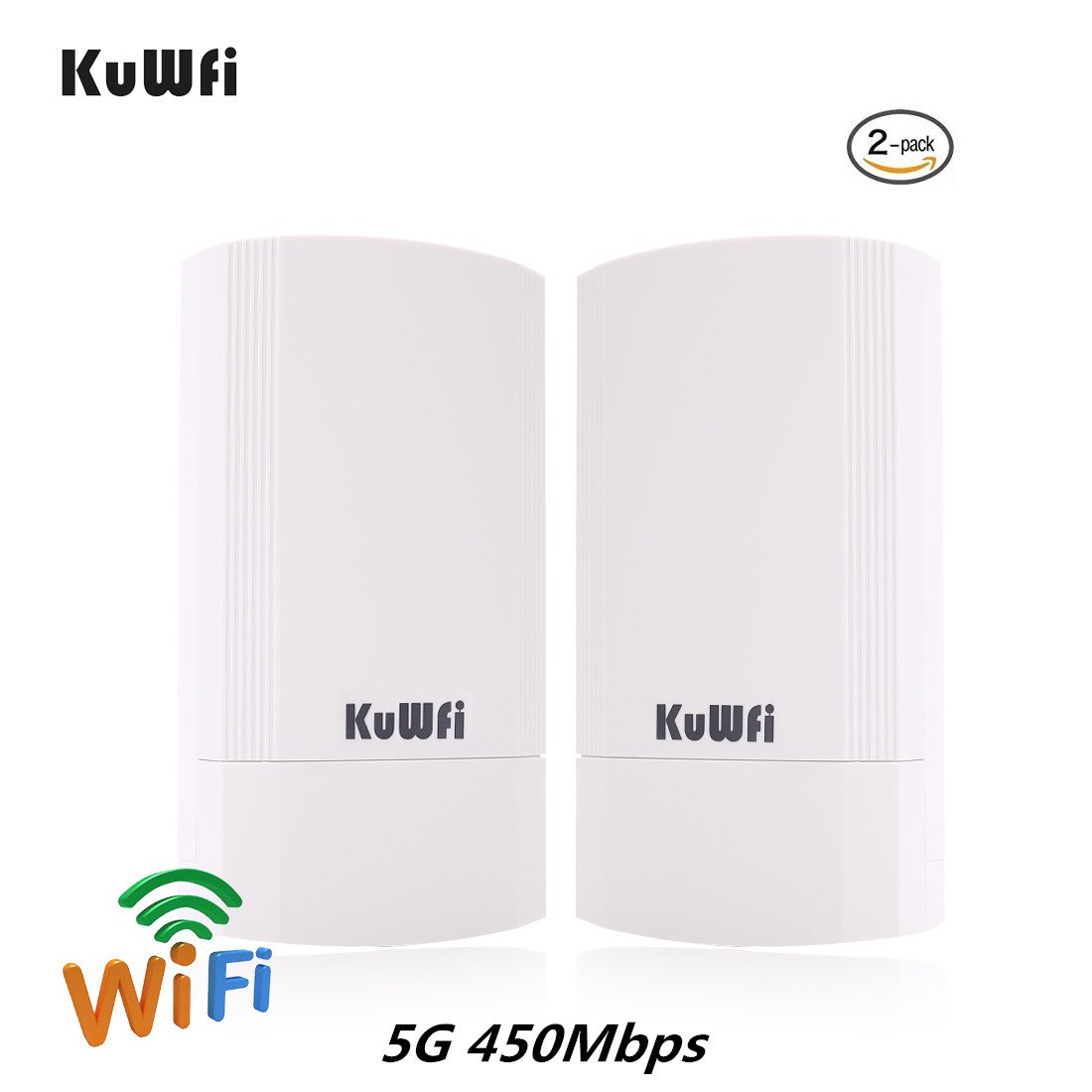 KuWFi 2-Pack 450Mbps Wireless outdoor CPE Kit,Indoor&Outdoor Point-to-Point  wireless Bridge/CPE Supports 2KM transmission distance solution for PTP,
