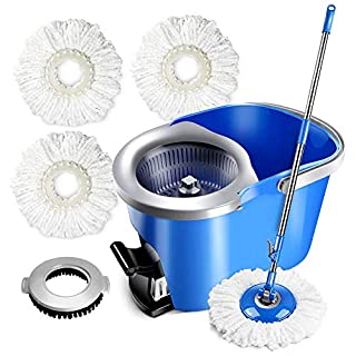 Masthome Spin Mop Bucket with Wringer Set by Foot Pedal with 3PCS Microfiber Mop Refills Cleaning Spin Mop Bucket System for Hardwood Laminate Tile Floors Cleaning