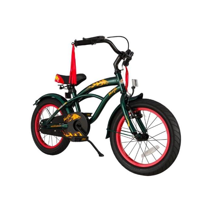 BIKESTAR Bicicleta Infantil para niños y niñas a Partir de 4 años | Bici 16 Pulgadas con Frenos | 16″ Edición Cruiser Verde
