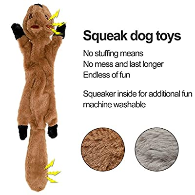 LOVEKONG Stuffingless Dog Toys, Stuffing Free Dog Chew Toys Set with Squirrel and Raccoon Squeaky Plush Dog Toy for Medium and Large Dogs 2Pack-24Inch