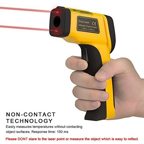 LURICO Infrared Thermometer, Helect Non-contact Digital Laser Temperature Gun (-58°F~1202°F/-50°C~650°C) - Accurate Digital Surface IR Thermometer with LCD Display (Battery Included) by LURICO (Image #9)
