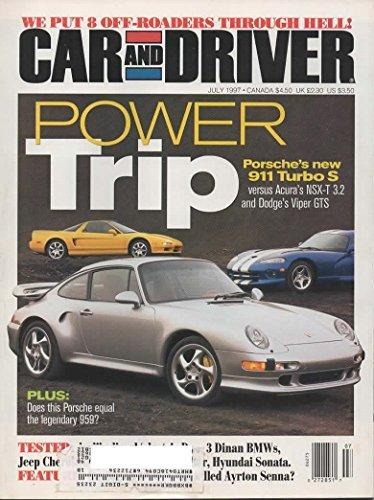 Car and Driver Magazine - July 1997 - Acura Nsx-t 3.2, Dodge Viper Gts, Porsche 911 Turbo S