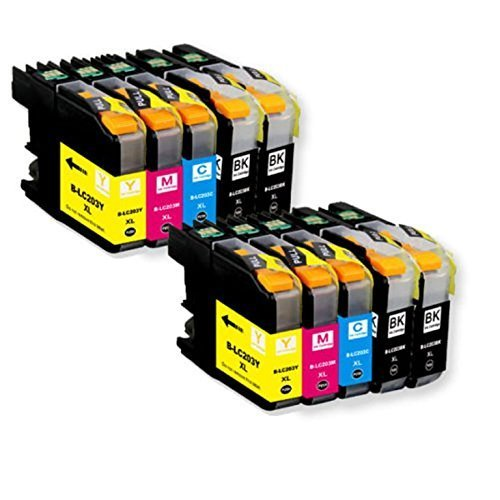TS 10 PK Compatible Ink Cartridges for Brother LC203 LC-203 (4 Black, 2 Yellow, 2 Magenta, 2 Cyan) for Multifunction Printers MFC-J4320DW, MFC-J4420DW, MFC-J4620DW, MFC-J5620DW, (10 Brother Ink)