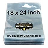 100 pcs Quality 18 x 24 inch PVC Shrink Wrap Bags for Books, Soaps, Bath Bombs, Bottles, Crafts & DIY Products by Mighty Gadget (R) - 100 gauge