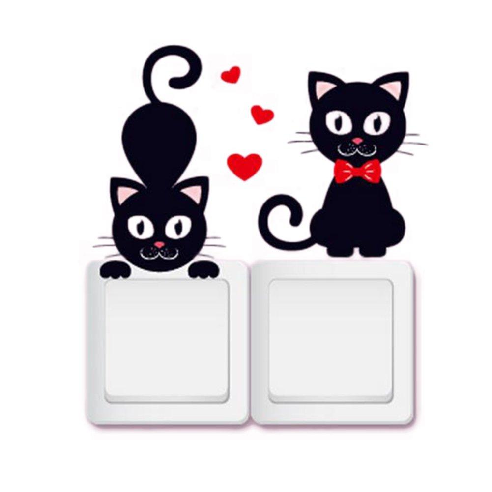 itemer 5PCS/1SET schwarz Cute Cat Licht Schalter Aufkleber PVC ablösbar Wand Dekoration Black-3