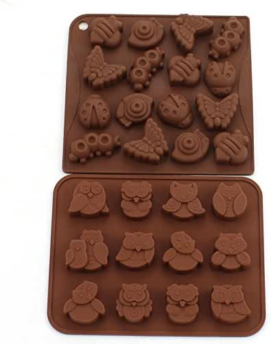 Zicome Silicone Animal Insect Chocolate Candy Making Mold Ice Cube Tray Set of 2
