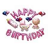 Editha Happy Birthday Balloons Kit Cartoon Baby Show Decorations Big Size Party Supplies Pink