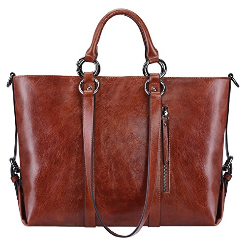 "Price comparison product image S-ZONE Women's 3-Way Genuine Leather Work Tote Laptop Shoulder Handbag Messenger Bag Fit 14"" Laptop Upgraded Version"