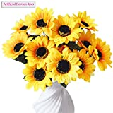 Artificial Flowers, Meiwo 4pcs Artificial Sunflowers 7 Heads Flowers Real Touch Flowers for Home Decor, Wedding, Parties, Offices, Restaurants