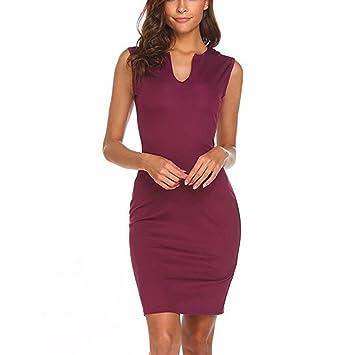 f397c138f65d Women's Elegant Dress - Saihui Vintage Sleeveless V Neck Wear to Work  Office Knee Length Bodycon Pencil Dresses (Wine, L): Amazon.co.uk: Kitchen  & Home