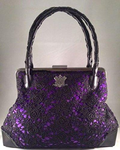 Disneyland Haunted Mansion 45th Anniversary Purple Velveteen Crocheted Black Purse - Handbag