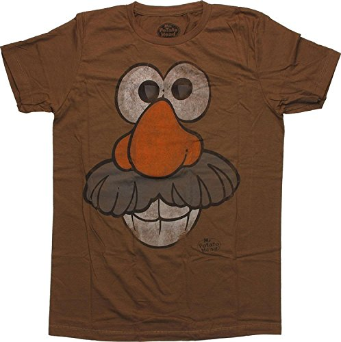 Lum-tshirt Men's Khaki Cotton Mr Potato Head Face T-Shirt Sheer -