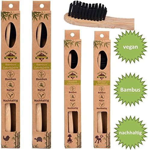 4er Family-Pack Bambus Zahnbürste mit reinem Bambus-Holz ✮ vegan ✮ biologisch abbaubar ✮ 100% frei von BPA ✮ Borsten...