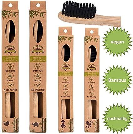 4 Family de Pack ♻ bambú cepillo de dientes con puro de bambú madera ✮ Vegano