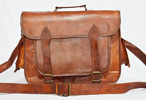 thehandicraftworld Real genuine leather messenger laptop satchel natural large soft vintage bag by thehandicraftworld