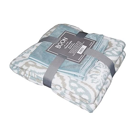 """Home Soft Things Knitted Woven Throw with 2 Pillow Shells Combo Set, Tivoli - Combo Set comes with (1) Throw & (2) Pillow Shell with Matching Color Throw Size: 50"""" x 60"""" Pillow Shell Size: 18"""" x 18"""" - blankets-throws, bedroom-sheets-comforters, bedroom - 51Ewc7mHENL. SS570  -"""