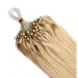 "Yotty Remy Human Hair Extensions Micro Ring Loop Tip Double Drawn Hair (16""0.4g/s, Ash Blonde)"