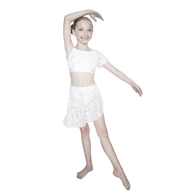 f6ecac941 Amazon.com  HDW DANCE Young Girls Contemporary Lyrical Dance Lycra Crop Top  Shorts Lace Overlay  Clothing