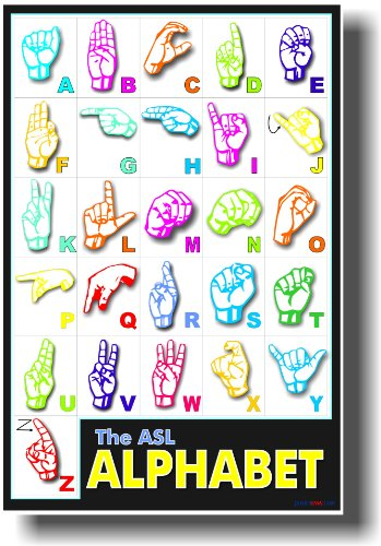 American Sign Language - Classroom Poster - Now with Bigger Letters and Color Coordinated