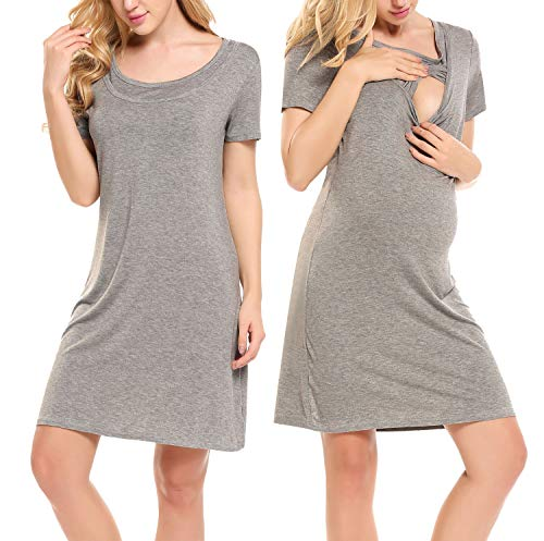 Hotouch Labor and Delivery Dress - Gift for Maternity/Hospital/Nursing Gray S