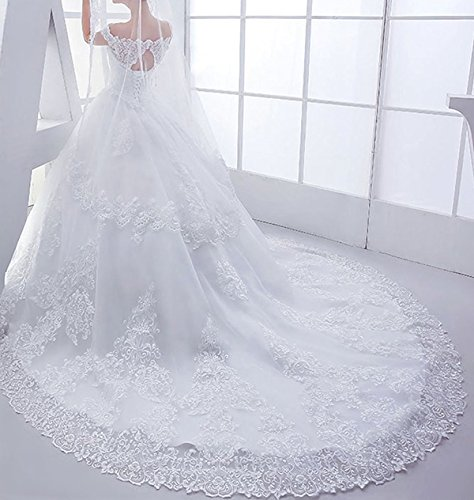RightBride Women's Sweetheart Wedding Dresses 2017 for Bride Lace Off the Shoulder Ball Gown Chapel