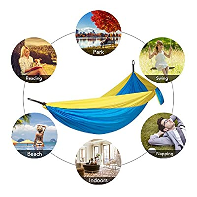 MARNUR Camping Hammock Parachute - Portable Double Hammock Lightweight with Nylon Hammock Straps and Compass Easy Assembly for Outdoor Camping Backpacking Travel and Home Yard: Sports & Outdoors