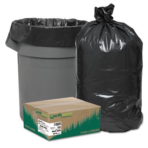 WEBRNW6060 - Recycled Can Liners, 55-60 Gal, 1.65 Mil, 38 X 58, Black, 100/carton