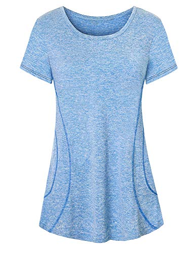 Viracy Yoga Clothes for Women, Juniors Fitness Workout Shirts Tops Cute Dressy Round Collar Short Sleeve Fast Dry Clothing Soft Wicking Loose Fit Exercise Tops Climbing Tennis Summer Top Blue 2XL
