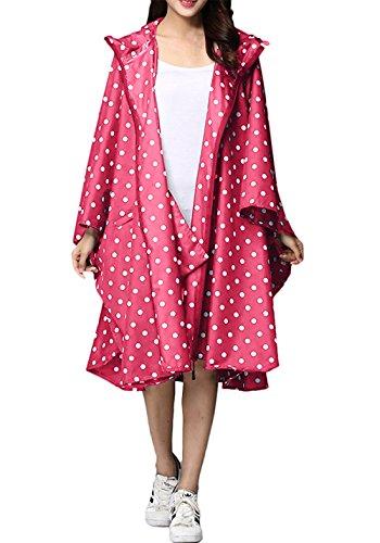 LINENLUX SiYang Rain Poncho Jacket Coat For Adults Hooded Waterproof With Zipper Outdoor (Pink Point) (Rain Women Slicker)