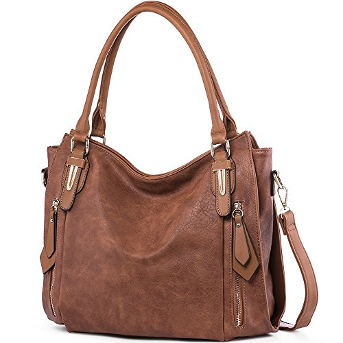 iYaffa Women Handbags Shoulder Crossbody Bags PU Leather Tote Bags for Women Medium Size Brown