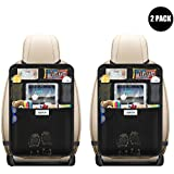 "Aoafun 2 Pack Kick Mats Car Seat Back Protectors, with 10.1"" iPad/Tablet Holder Touch Screen,Waterproof Seat Covers for The Back of Your Seat, Car Back Seat Protectors, Backseat Organizer(Black)"