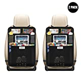Kick Mats Auto Seat Back Protectors by Aoafun, 4 Large Organizer Pockets, Waterproof Seat Covers For The Back Of Your Seat , Car Back Seat Protectors, Backseat Organizer(2 Pack&Black)