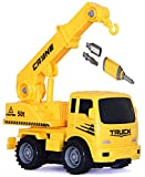 Toys Bhoomi 2-in-1 Friction Powered Take-A-Part Construction Vehicle Crane Truck Playset
