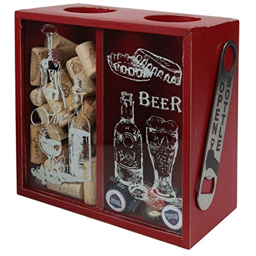 (Lily's Home Wine Cork and Beer Cap Holder and Beer Cap Holder Shadow Box with Magnetic Bottle Opener and Corkscrew, Wood and Glass Box Makes the Ideal Gift for the Happy and Hydrated Drinker, Red )