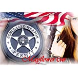 """Mayflower CNF *Special Silver Star in Round Concealed Weapon Permit Badge Prop with Pin back on Holder w. 28"""" Long Chain and Belt clip, Rare *Nice Collection *Wonderful Badge Prop *Amazing Gift"""