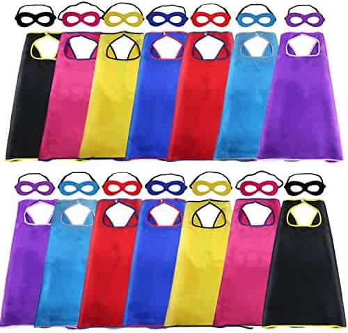 Superhero Capes and Masks for Kids Bulk Costume- Boys Girls Super Hero Dress Up Birthday Party Supplies,14 Pack (28 Pieces)