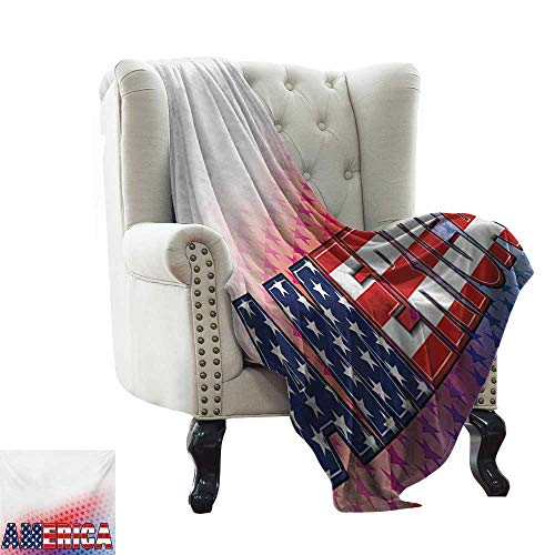 - baby monthly milestone blanket American,USA Flag on America Stars Background Illustration Freedom Independence Liberty,Red Blue White Lightweight breathable flannel Fabric,Machine Washable 70